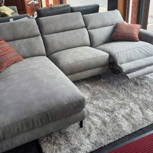 Concept Pantheon – Soft New Buck Fabric corner chaise power recliner