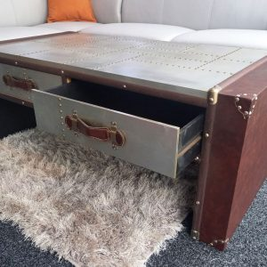 Aluminium & Faux Leather Aviator Style coffee table & drawers