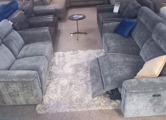 Volante Sofa – Grey fabric 3 seater power recliner & 2 seater static