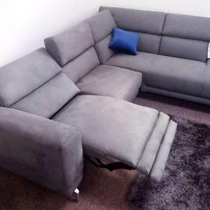 Fallini – Grey Fabric corner reclining sofa