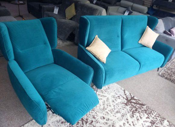 Verdi – Luxury Velvet Fabric 3 Seater and Manual recliner